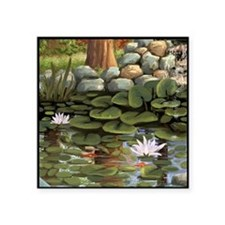 "Fish among the lilies Square Sticker 3"" x 3"""