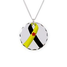 PTSD Ribbon Necklace Circle Charm