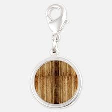 Flip-Flip Wood Silver Round Charm
