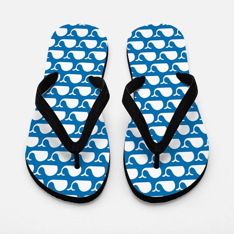 Whale Blue Flip Flops