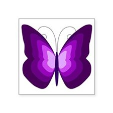 "Purple Butterfly Square Sticker 3"" x 3"""