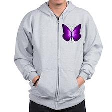Purple Butterfly Zip Hoodie