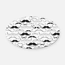Mustache You A Question Black Oval Car Magnet