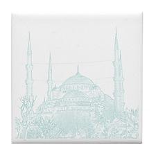 Istanbul_10x10_BlueMosque_White Tile Coaster