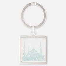 Istanbul_10x10_BlueMosque_White Square Keychain
