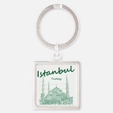 Istanbul_12X12_BlueMosque_Green Square Keychain