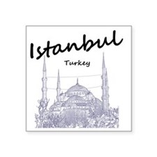 "Istanbul_12X12_BlueMosque_B Square Sticker 3"" x 3"""