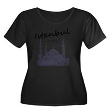 Istanbul Women's Plus Size Dark Scoop Neck T-Shirt