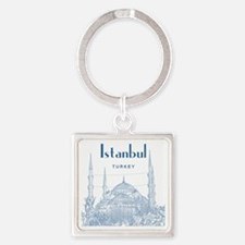 Istanbul_10x10_BlueMosque_Blue2 Square Keychain