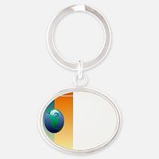 hikeglobenf2tran Oval Keychain
