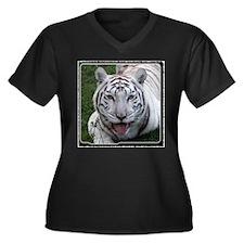 White Tiger 2 Women's Plus Size V-Neck Dark T-Shir