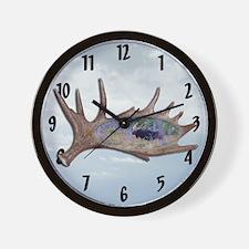 Shed moose antler Wall Clock