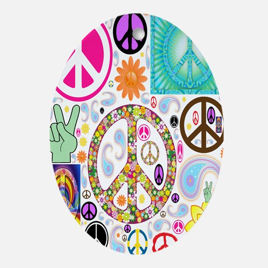 Peace  Paisley Collage FF Oval Ornament