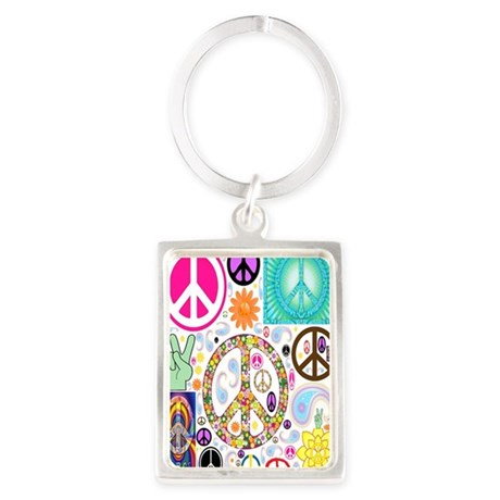 Peace Paisley Collage FF Portrait Keychain