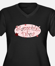 """Stamping Diva"" [red] Women's Plus Size V-Neck Dar"