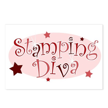 """""""Stamping Diva"""" [red] Postcards (Package of 8)"""