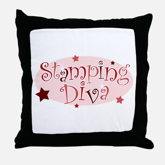 """""""Stamping Diva"""" [red] Throw Pillow"""