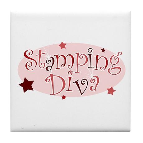 """Stamping Diva"" [red] Tile Coaster"