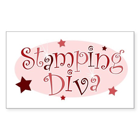 """""""Stamping Diva"""" [red] Rectangle Sticker"""