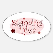 """""""Stamping Diva"""" [red] Oval Decal"""
