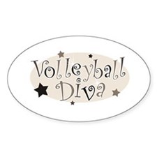 """Volleyball Diva"" [brown] Oval Decal"