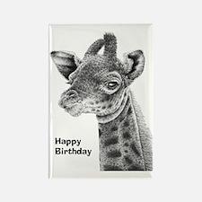 Giraffe Calf Happy Birthday Card Rectangle Magnet
