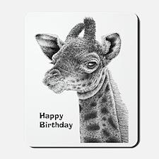 Giraffe Calf Happy Birthday Card Mousepad