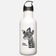 Giraffe Calf Happy Bir Water Bottle
