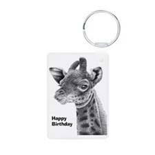 Giraffe Calf Happy Birthda Keychains