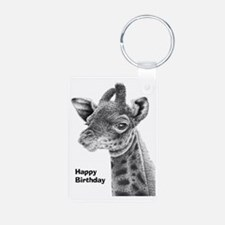 Giraffe Calf Happy Birthda Keychains
