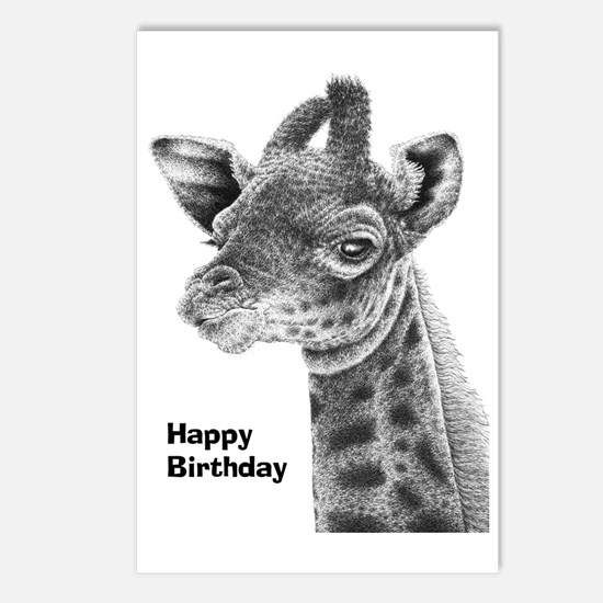 Giraffe Calf Happy Birthd Postcards (Package of 8)
