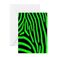 Lime Zebra Stripes Greeting Card