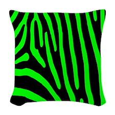 Lime Zebra Stripes Woven Throw Pillow