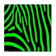 Lime Zebra Stripes Tile Coaster