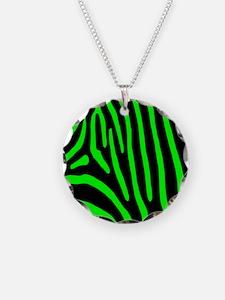Lime Zebra Stripes Necklace