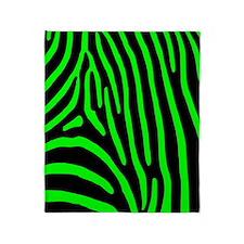Lime Zebra Stripes Throw Blanket