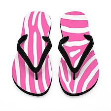 Hot Pink and White Zebra Stripes Flip Flops