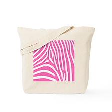 Hot Pink and White Zebra Stripes Tote Bag