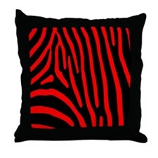 Red Zebra Stripes Throw Pillow