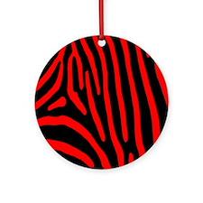 Red Zebra Stripes Round Ornament
