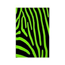 Chartreuse Zebra Stripes Rectangle Magnet