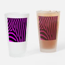 Fuchsia Zebra Stripes Drinking Glass
