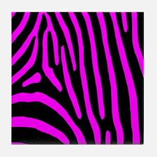 Fuchsia Zebra Stripes Tile Coaster