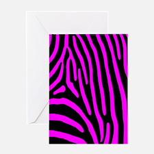 Fuchsia Zebra Stripes Greeting Card