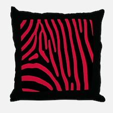 Crimson Zebra Stripes Throw Pillow