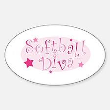 """Softball Diva"" [pink] Oval Decal"