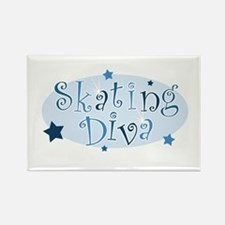 """Skating Diva"" [blue] Rectangle Magnet"