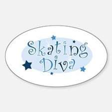 """""""Skating Diva"""" [blue] Oval Decal"""