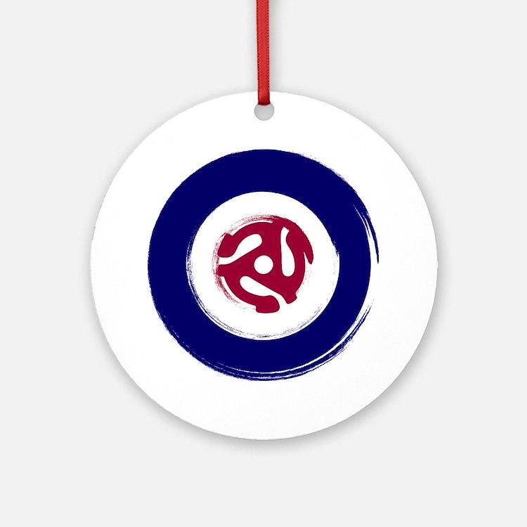 Retro Mod Target with 45 rpm adapto Round Ornament