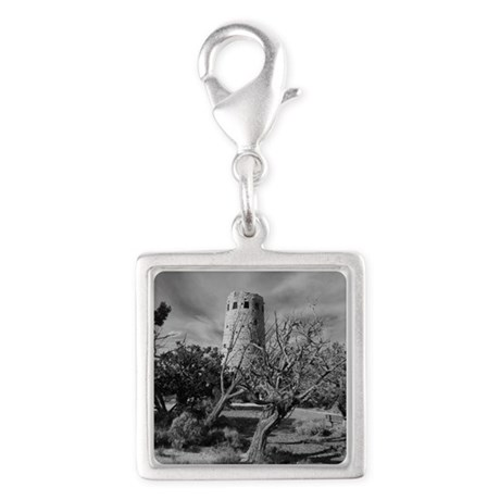 Desert View Watch Tower Silver Square Charm